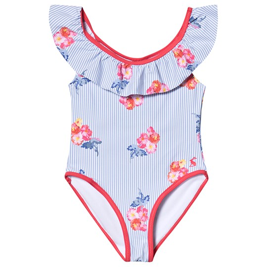 Tom Joule Blue and White Floral Print UV Protected Ruffle Swimsuit Blue Floral Stripe