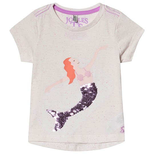 Tom Joule Cream Sequin Mermaid Print tee Pink Sequin Mermaid