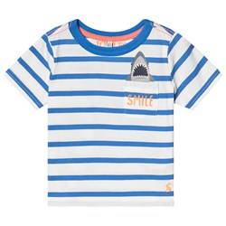 Joules Blue and White Stripe Smile Pocket Tee