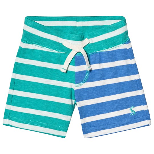 Tom Joule Green and Blue Stripe Jersey Shorts Turquoise Cream Stripe