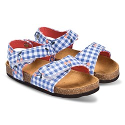 Joules Blue and White Gingham Cherry Print Sandal