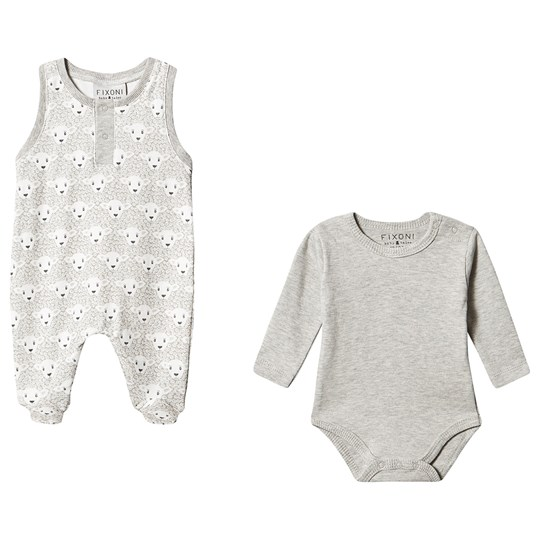 Fixoni Jumpsuit and Baby Body Set Off White/Grey off-white