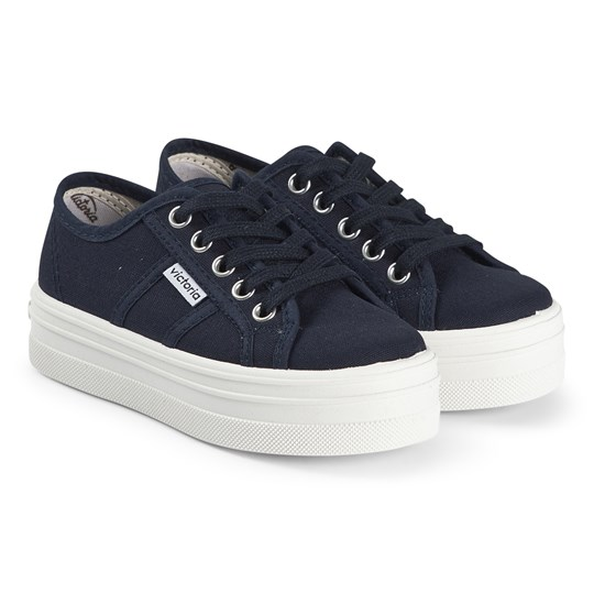 Victoria Navy Barcelona Stacked Sole Trainers Marino