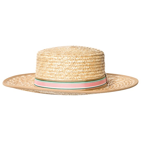 Bonpoint Beige Woven Straw Hat with Pink Ribbon 006