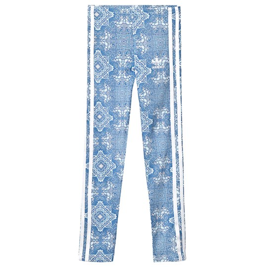 adidas Originals Blue Patterned Branded Leggings clear sky/white