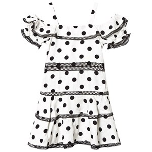 Bilde av Bardot Junior Black And White Polka Dot Tiered Dress 12 Years