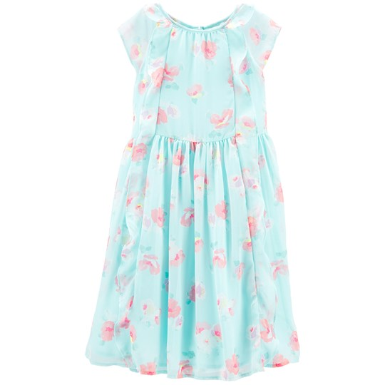 OshKosh Waterfall Dress Turquoise Ground Floral FLORAL (972)
