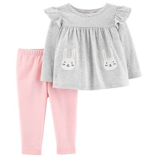 Carter's Bunny Top and Pants Set Heather/Pink STRIPE (984)