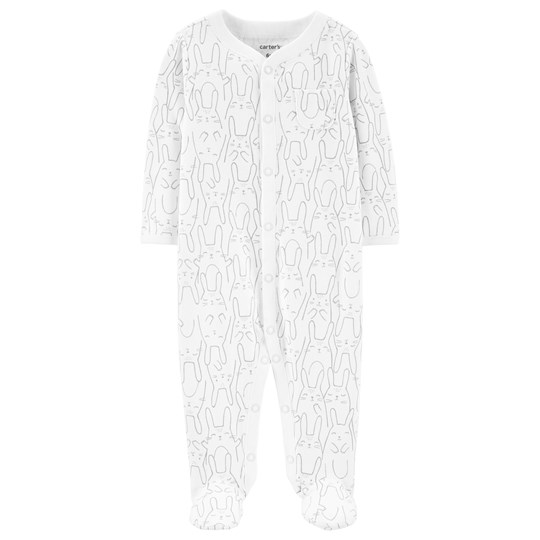 Carter's Bunny Footed Baby Body White PRINT (969)