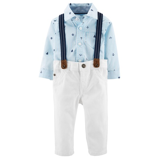Carter's Suspender Shirt Set Blue/White PRINT (969)