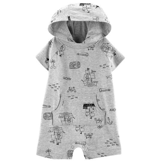Carter's Pirate Hooded Romper Grey PRINT (969)