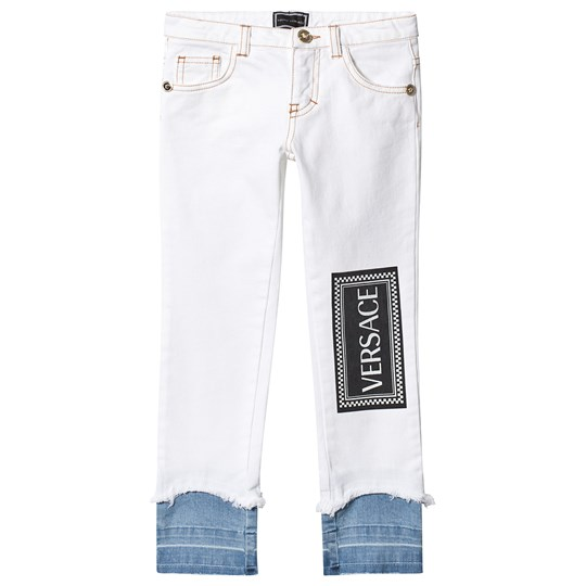 Versace Branded Double Layer Jeans Hvid Y4855
