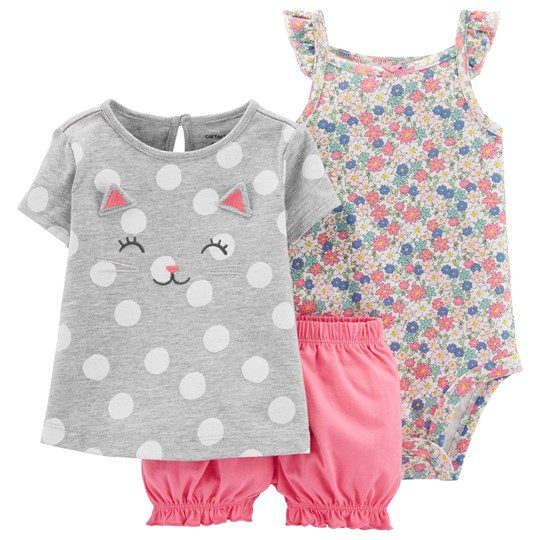 Carter's Cat Little Bubble Shorts Set Heather/Pink PRINT (969)