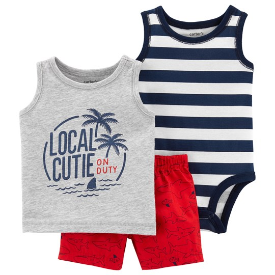 Carter's Palm Trees Little Shorts Set Navy/Red HEATHER (053)