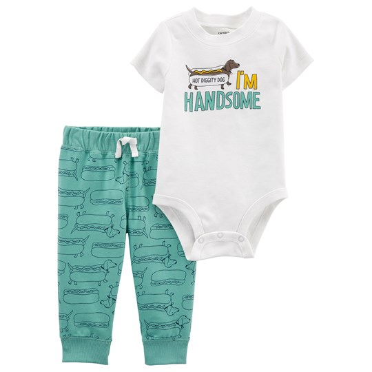 Carter's Hot Dog Baby Body and Pants Set White/Green IVORY (153)