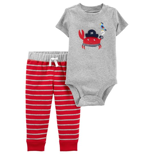 Carter's Crab Baby Body and Pants Set Grey/Red HEATHER (053)