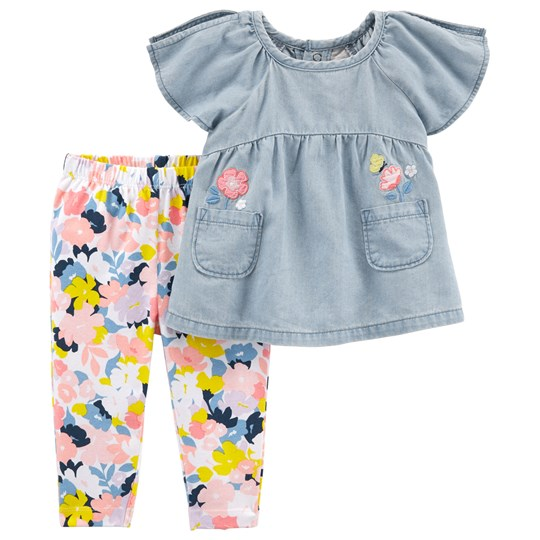 Carter's Chambray Top and Leggings Set Blue/Pink PRINT (969)
