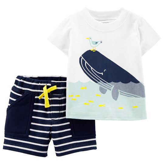 Carter's Whale Tee and Shorts Set White/Navy STRIPE (984)