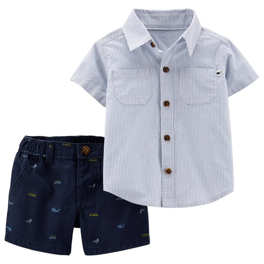 Carter's Stripe Shirt and Twill Shorts Set Blue PRINT (969)