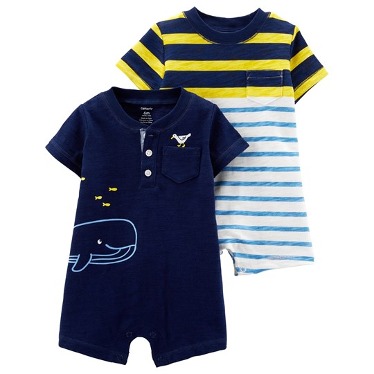 Carter's 2-Pack Whale Rompers Navy/Yellow STRIPE (984)