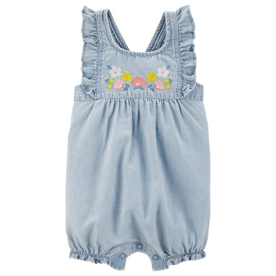Carter's Floral Chambray Romper Blue DENIM (463)