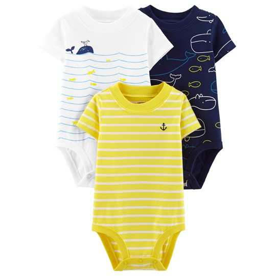 Carter's 3-Pack Whale Original Baby Bodies Yellow/Navy PRINT (969)