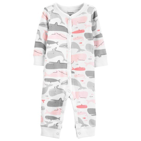 Carter's Whale Snap One-Piece White/Pink PRINT (969)