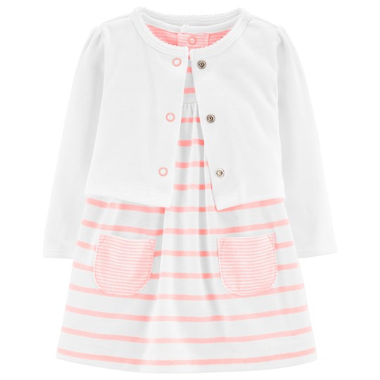 Carter's Dress and Cardigan Set Pink/White STRIPE (984)