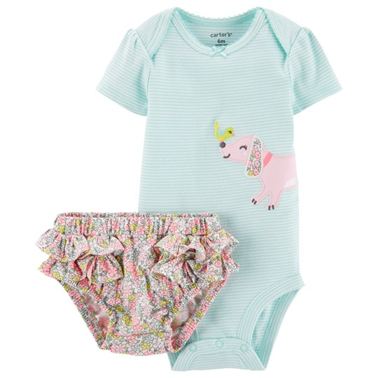 Carter's Floral Dog Baby Body and Bloomers Set Turquoise PRINT (969)