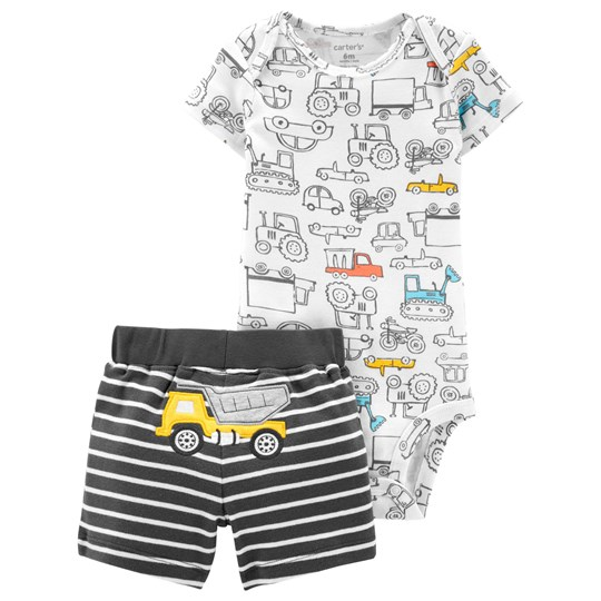 Carter's Construction Baby Body and Shorts Set White/Black PRINT (969)