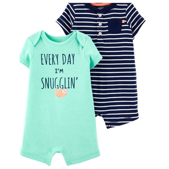 Carter's 2-Pack Sloth Rompers Turquoise/Navy STRIPE (984)