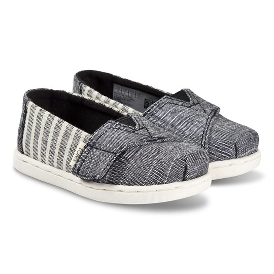 Toms Grey and White Striped Alpargata Slip On Strap Trainers Black