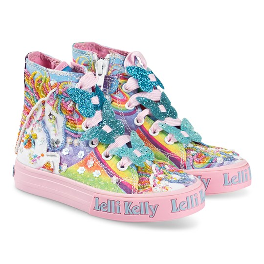 Lelli Kelly Blue Rainbow Unicorn and Butterfly Lace Mid Trainers Multi
