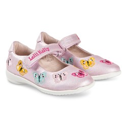 Lelli Kelly Pink Glitter Butterfly Embroidered Leather Velcro Shoes