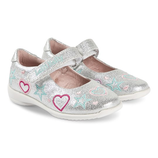 Lelli Kelly Silver Charlotte Heart Embroidered Glitter Leather Velcro Shoes Silver