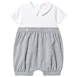 Mintini Baby Grey and White Collar Detail Romper