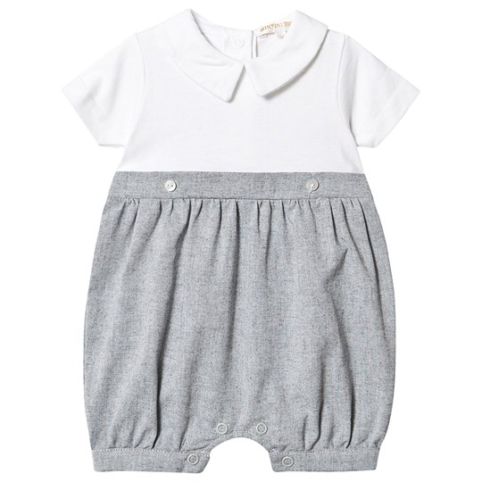 Mintini Baby Grey and White Collar Detail Romper Black