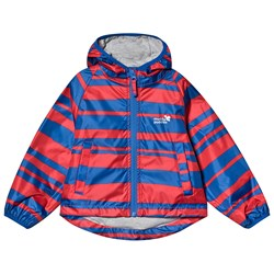 Muddy Puddles Red & Navy Striped Lined PuddlePac Rain Jacket