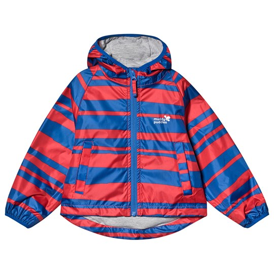 Muddy Puddles Red & Navy Striped Lined PuddlePac Rain Jacket Red/Navy Stripe