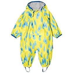 Muddy Puddles Yellow Raindrop Print Lined PuddlePac Coverall