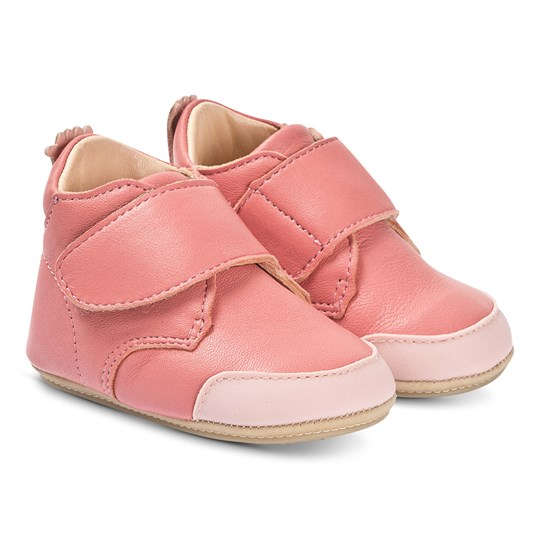 Easy Peasy Pink Leather Ivel B Velcro Crib Booties 443