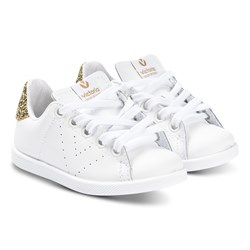 Victoria White and Gold Glitter Heel Tenis Piel Trainers