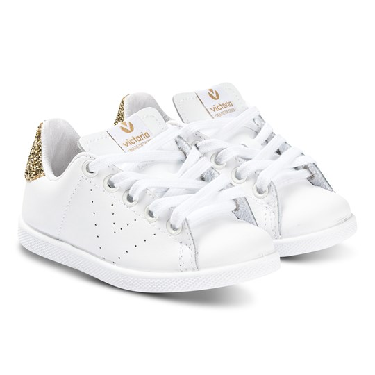 Victoria White and Gold Glitter Heel Tenis Piel Trainers PLATINO