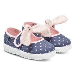 Victoria Navy And Pink Lurex Spot Bow Ojalá Lunares Trainers