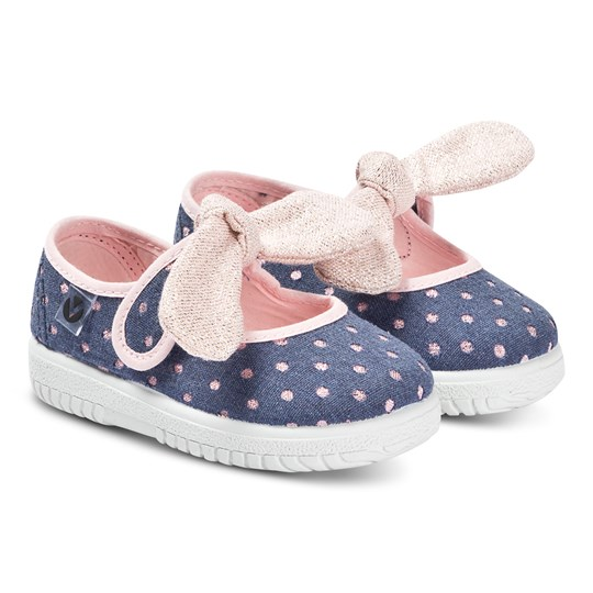 Victoria Navy And Pink Lurex Spot Bow Ojalá Lunares Trainers Pink