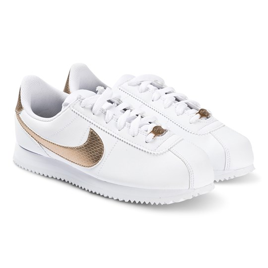 NIKE White and Gold Nike Cortez Basic Trainers 100