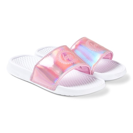 Hype Pink Aurora Holographic Slides Pink/White