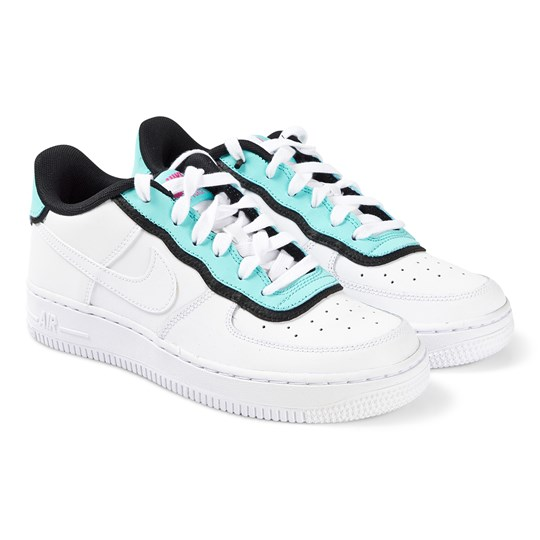 NIKE White and Blue Nike Air Force 1 Trainers 100