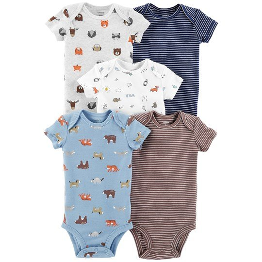 Carter's 5-Pack Animal Baby Bodies Blue ASSORTED (998)