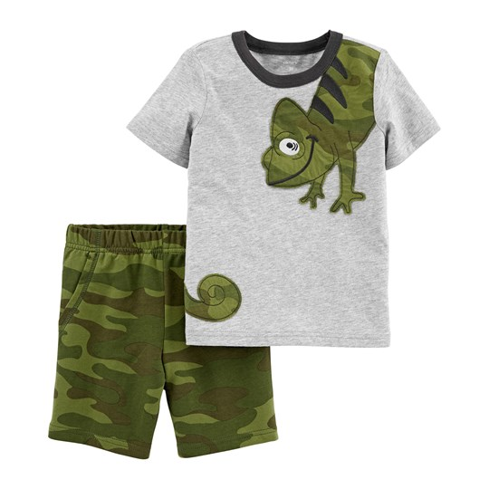 Carter's Chameleon Tee and Shorts Set Grey/Green HEATHER (053)